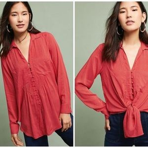 Maeve Anthropologie red polka dot button shirt